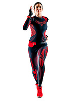 one caucasian beautiful woman runner running jogger jogging stretching warming up in jumpsuit  winter clothes  isolated on white background