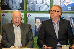 Pictured: Craig Brown and Alex McLeish<br /> Veteran commentator Archie MacPherson was at Hampden Park today as he announced the publication of his latest book:  Adventures in the Golden Age - Scotland in the World Cup Finals 1974-1998, due to be published on 26 April  MacPherson was joined by former and  current Scotland manager Craig Brown and Alex McLeish respectivly  along with ex-Celtic, Arsenal and Scotland player Charlie Nicholas who was Archie's co-commentator at the Mexico World Cup. <br /> <br /> Ger Harley | EEm 25 April 2018