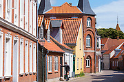 Street scene in medieval Ribe centre, South Jutland, Denmark
