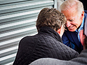 01 MAY 2019 - IOWA CITY, IOWA:  Former Vice President JOE BIDEN talks to a supporter in the crowd after his speech during his campaign event in Iowa City. The event was held in microbrewery Biden is running to be the Democratic nominee for the US Presidency in 2020. He is campaigning in Iowa City and Des Moines today. Iowa traditionally hosts the the first selection event of the presidential election cycle. The Iowa Caucuses will be on Feb. 3, 2020.      PHOTO BY JACK KURTZ