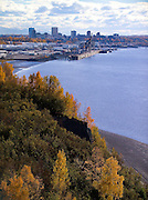 Alaska. Anchorage,  View over Port of Anchorage and docks