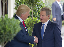 August 28, 2017 - Washington, District of Columbia, United States of America - United States President Donald J. Trump welcomes President Sauli Niinistö of Finland to the White House in Washington, DC on Monday, August 28, 2017..Credit: Ron Sachs / CNP (Credit Image: © Ron Sachs/CNP via ZUMA Wire)
