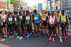 07-04-2019 NED: 39e NN Rotterdam Marathon, Rotterdam<br /> Start 39th marathon of Rotterdam with winner Marius Kipserem KEN, Abdi Nageeye and Khalid Choukoud