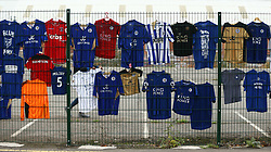 Shirt tributes, left for the victims of the Helicopter crash, which have been re-located to a new memorial site nearer to the crash site at the King Power Stadium, Leicester.