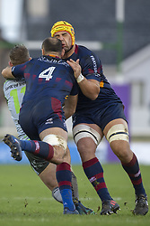 December 8, 2018 - Galway, Ireland - Yohan Vivalda and Berend Botha of Perpignan during the European Rugby Challenge Cup between Connacht Rugby and Parpignan at the Sportsground in Galway, Ireland on December 8, 2018  (Credit Image: © Andrew Surma/NurPhoto via ZUMA Press)