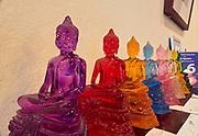 Laos. Luang Prabang. Glass Buddhas at Ppsara boutique hotel..