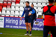 Trainer John Ashton during the EFL Sky Bet League 2 match between Stevenage and Walsall at the Lamex Stadium, Stevenage, England on 20 February 2021.