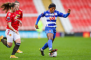 Reading forward Danielle Carter (18) controls the ball  during the FA Women's Super League match between Manchester United Women and Reading LFC at Leigh Sports Village, Leigh, United Kingdom on 7 February 2021.