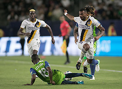CARSON, Jul. 30, 2017  Kevin Leerdam (bottom) of the Seattle Sounders strips the ball from Ashley Cole of the Los Angeles Galaxy during the Major League Soccer (MLS) match between Los Angeles Galaxy and Seattle Sounders in Carson, California, U.S., July 29, 2017. The game ended with a 0-0 draw. (Credit Image: © Javier Rojas/Xinhua via ZUMA Wire)