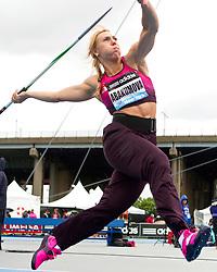 adidas Grand Prix Diamond League professional track & field meet: womens javelin throw, Mariya ABAKUMOVA, Russia