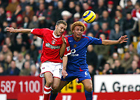 Photo: Chris Ratcliffe.<br />Charlton Athletic v Manchester United. The Barclays Premiership. 19/11/2005.<br />Wes Brown (R) and Dennis Rommedahl battle for the ball