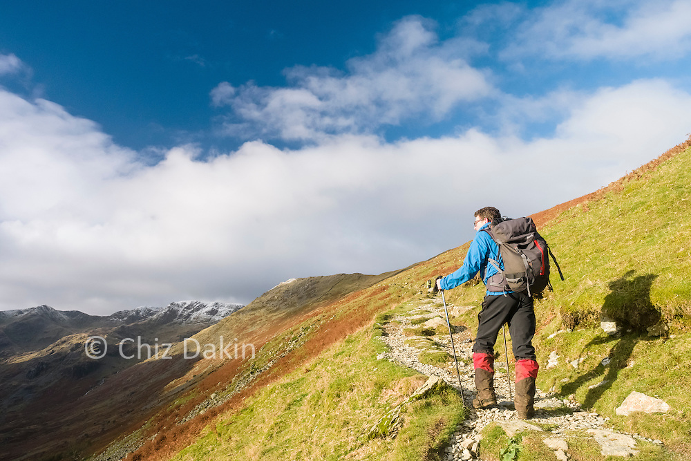 """The gently rising track up to """"Hole in the Wall"""" makes fairly easy going of the ascent out of Grisedale."""