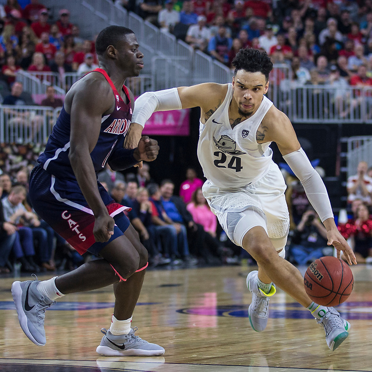 Mar 11 2017  Las Vegas, NV, U.S.A. Oregon Dillon Brooks (24) scored 25 points, 1 assist and 2 steals drives to the basket  during the NCAA Pac 12 Men's Basketball Championship between Oregon Ducks and Arizona Wildcats 80-83 lost win at T Mobile Arena Las Vegas, NV.  Thurman James / CSM