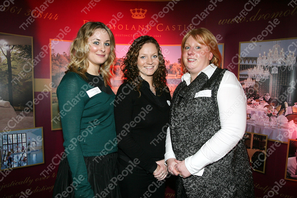 Rioghnat Browne, Leonie Keane and Edel Clune of Exec Travel, Limerick pictured on Tuesday night in Dromoland Castle,Clare at the Air France by City Jet Launch of the Shannon to Paris route from Monday the 4th of Feburary, which will have two daily flights. Pic. Brian Arthur/ Press 22..<br /> Pic. Brian Arthur/ Press 22.