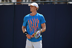 June 23, 2017 - London, United Kingdom - Kevin Anderson of South Africa practices at The Queen's Club, London on June 22, 2017. The players use the grass courts to train themselves before the start of Wimbledon Championships. (Credit Image: © Alberto Pezzali/NurPhoto via ZUMA Press)