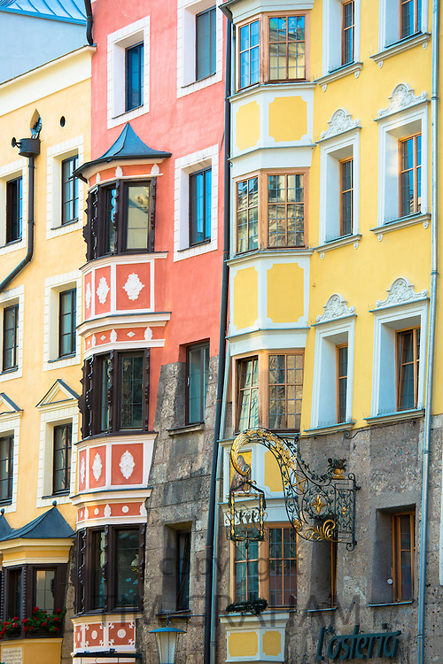 Traditional Tyrolean ornate architecture in Innsbruck in the Tyrol, Austria