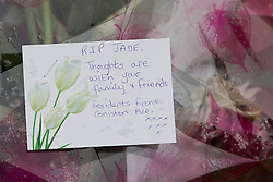 © Licensed to London News Pictures . 27/03/2013 . Manchester , UK . Flowers and tributes left outside the back gate of the home , next to the scene of the attack . Scene at Chaucer Grove , Atherton today (27th March) after a 14 year old girl , named as Jade Anderson , was mauled to death by four dogs at a friend's house yesterday afternoon (26th March) . Armed police exterminated the dogs at the scene . Photo credit : Joel Goodman/LNP
