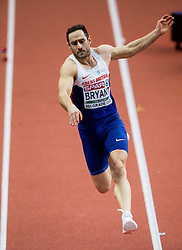 Ashley Bryant of Great Britain competes in the Heptathlon Long Jump Men on day two of the 2017 European Athletics Indoor Championships at the Kombank Arena on March 4, 2017 in Belgrade, Serbia. Photo by Vid Ponikvar / Sportida