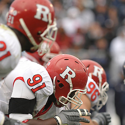 Oct 31, 2009; East Hartford, CT, USA; Rutgers defensive tackle Justin Francis (91) sets up at the line of scirmmage during second half Big East NCAA football action in Rutgers' 28-24 victory over Connecticut at Rentschler Field.