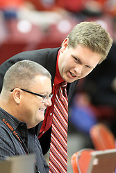 03 November 2013:  John Twork (standing) during an mens exhibition basketball game between the Quincy Hawks and the Illinois State Redbirds in Redbird Arena, Normal IL