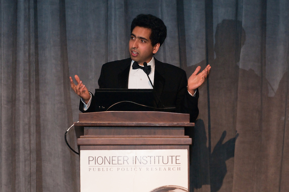 PHOTO BY MIKE DEAN<br /> Sal Khan, Founder of Khan Academy, was the honoree at the Pioneer Institute's 14th annual Lovett C. Peters Lecture in Public Policy Nov. 16, 2011 at the Four Seasons Hotel in Boston.<br /> www.mikedeanphotos.com