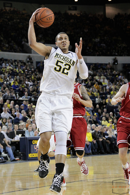 12 February 2011: Michigan Wolverines forward Jordan Morgan (52) as the Indiana Hoosiers played the Michigan Wolverines in a college basketball game in Ann Arbor, Mich.