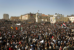 Palestinians wait for the delivery of leader Yasser Arafat's body, so he can be buried at his compound, Ramallah, Palestinian Territories, Nov. 12, 2004. Arafat died in a Paris hospital at the age of 75.