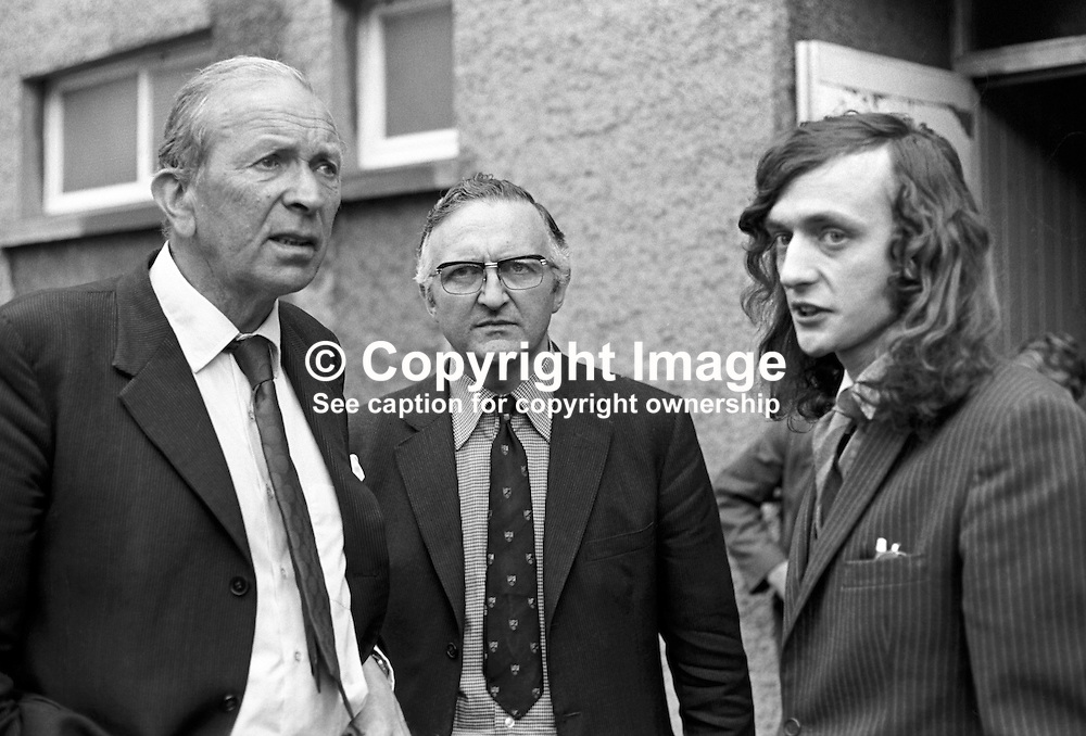 Lord Donaldson, Minister of State for N Ireland, left, with Basil Glass, Alliance Party of N Ireland & former community relations minister, & Brian Green, secretary of the Lower Ormeau Community Centre, Balfour Drive, Belfast. It was one of several visits that the minister made to community centres throughout Belfast. 197407310415a.<br /> <br /> Copyright Image from Victor Patterson, Belfast, UK<br /> <br /> t: +44 28 9066 1296 (from Rep of Ireland 048 9066 1296)<br /> m: +44 7802 353836<br /> e: victorpattersonbelfast@gmail.com<br /> <br /> www.images4media.com<br /> <br /> Please see my full Terms and Conditions of Use at https://www.images4media.com/p/terms-conditions - it is IMPORTANT that you familiarise yourself with them.<br /> <br /> Images used online incur an additional cost. This cost should be agreed in writing in advance. Online images must be visibly watermarked i.e. © Victor Patterson or that of the named photographer within the body of the image. The original metadata must not be deleted from images used online.<br /> <br /> This image is only available for the use of the download recipient i.e. television station, newspaper, magazine, book publisher, etc, and must not be passed on to a third party. It is also downloaded on condition that each and every usage is notified within 7 days to victorpattersonbelfast@gmail.com.<br /> <br /> The right of Victor Patterson (or the named photographer) to be identified as the author is asserted in accordance with The Copyright Designs And Patents Act (1988). All moral rights are asserted.