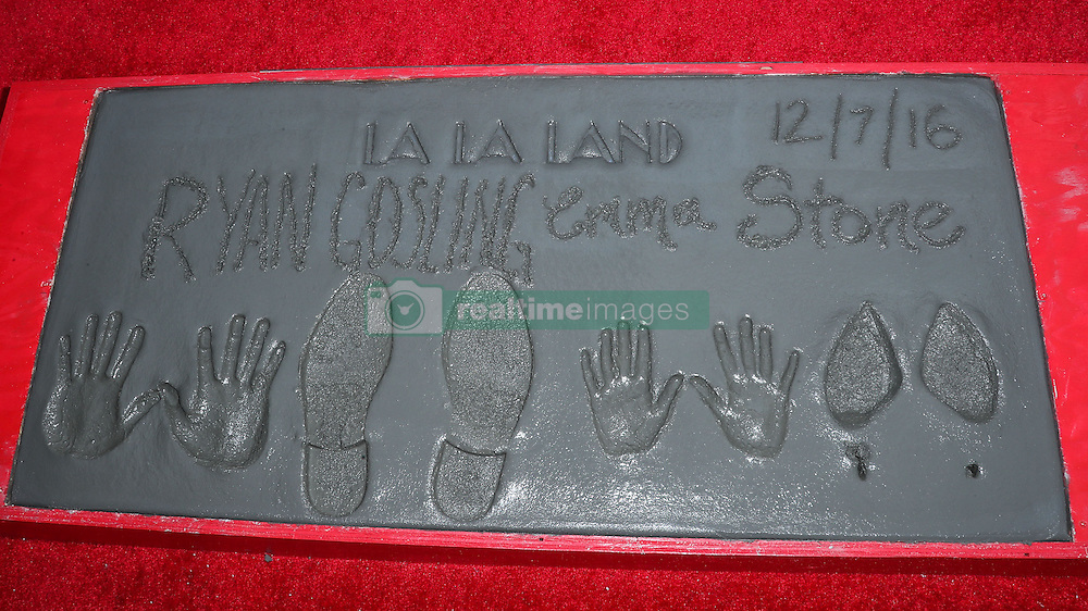 Ryan Gosling And Emma Stone 'La La Land' Hand And Footprint Ceremony at the TCL Chinese Theatre IMAX on December 7, 2016 in Hollywood, California. 07 Dec 2016 Pictured: Emma Stone, Ryan Gosling shoe and handprints. Photo credit: Image Press/MEGA TheMegaAgency.com +1 888 505 6342