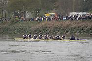 London, UK. 07 April 2019.  Oxford University Boat Club (OUBC) vs Cambridge University Boat Club (CUBC) Blue Crews.<br /> OUBC Blue Boat Crew (Dark Blue shirts):-<br /> Bow: Charlie Pearson, 2: Ben Landis, 3: Achim Harzheim, 4: Patrick Sullivan, 5: Tobias Schroder, 6: Felix Drinkall, 7: Charlie Buchanan, Stroke: Augustin Wambersie.<br /> CUBC Blue Boat Crew (Light Blue shirts):-<br /> Bow: Dave Bell, 2: James Cracknell, 3: Grant Bitler, 4: Dara Alizadeh, 5: Callum Sullivan, 6: Sam Hookway, 7: Freddie Davidson, Stroke: Natan Wegrzycki-Szymczyk.