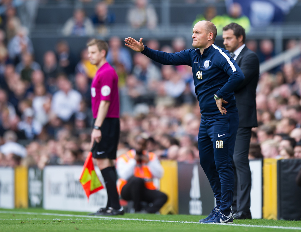 Preston North End manager Alex Neil  shouts instructions to his team from the technical area<br /> <br /> Photographer Ashley Western/CameraSport<br /> <br /> The EFL Sky Bet Championship - Fulham v Preston North End - Saturday 14th October 2017 - Craven Cottage - London<br /> <br /> World Copyright © 2017 CameraSport. All rights reserved. 43 Linden Ave. Countesthorpe. Leicester. England. LE8 5PG - Tel: +44 (0) 116 277 4147 - admin@camerasport.com - www.camerasport.com