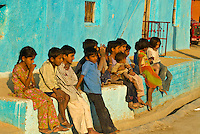 Children in a Bishnoi tribal village, near Rohet, Rajasthan, India