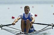 Trakai, LITHUANIA. ITA M1X, Federico GATTINONI. Gold Medalist  2002 Junior World Rowing Championships, on Lake Galva Wednesday  07/08/2002 [Mandatory Credit: Peter Spurrier/ Intersport Images] 200208 Junior World Rowing Championships, Trakai, LITHUANIA