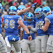 Kicker Will Conant, Air Force, is congratulated after kicking a 50 yard field goal during the Army Black Knights Vs Air Force Falcons, College Football match at Michie Stadium, West Point. New York. Air Force won the game 23-6. West Point, New York, USA. 1st November 2014. Photo Tim Clayton