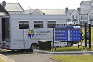 GUI mobile office and score board during Round 3 of The West of Ireland Open Championship in Co. Sligo Golf Club, Rosses Point, Sligo on Saturday 6th April 2019.<br /> Picture:  Thos Caffrey / www.golffile.ie
