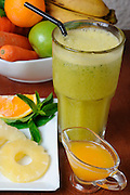 Organic Health Food meal. Fruit, vegetables and a shake drink