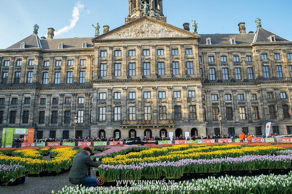 NLD/Amsterdam/20190119 - Nationale Tulpendag 2019, doop tulp Quinty Trustfull, Paleis op de Dam met tulpen er voor
