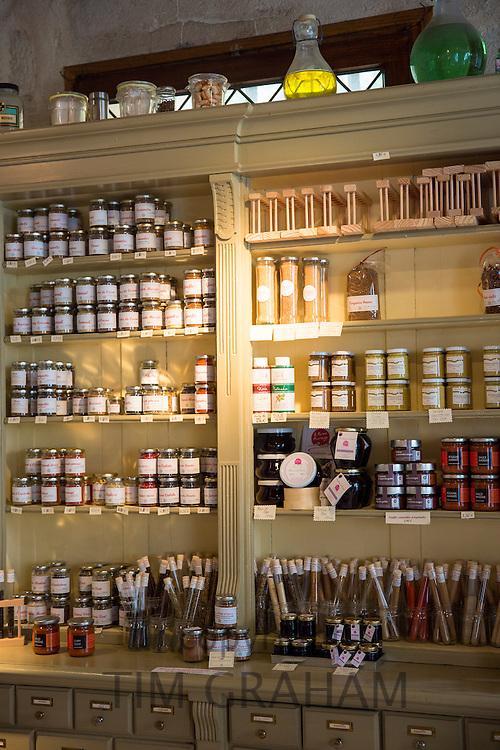 Display of regional speciality foods for sale at cafe La Rose de Vergy in Rue de la Chouette in Dijon in the Burgundy region of France