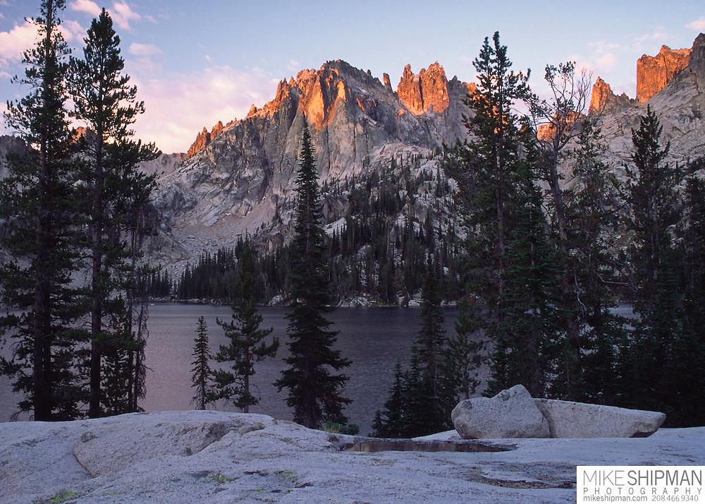 Monte Verita Peak and Baron Lake at sunrise, Sawtooth Wilderness Area, Idaho