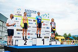 Ursa Pintar, Eugenia Bajuk and Urska Zigart during medal ceremony Sloveian Road Cycling Championship Time Trial 202, on June 17, 2021 in Koper, Slovenia. Photo by Grega Valancic / Sportida.