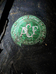 November 28, 2016 - Medellin, Columbia - Logo of Brazilian football team Chapecoense at the site of the plane crashed in a mountainous area outside the Colombian city of Medellin, in the department of Antioquia, Colombia. An airplane with 72 people on board, including players from a Brazilian football team, has crashed in Colombia. (Credit Image: © Noticias Telemedellin/Xinhua via ZUMA Wire)