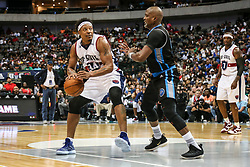 August 17, 2018 - Dallas, TX, U.S. - DALLAS, TX - AUGUST 17: Tri-State David Hawkins #34 tries to get around Power Cuttino Mobley #5 during the Big 3 Basketball playoff game between the Power and the Tri-State on August 17, 2018 at the American Airlines Center in Dallas, Texas. Power defeats Tri-State 51-49. (Photo by Matthew Pearce/Icon Sportswire) (Credit Image: © Matthew Pearce/Icon SMI via ZUMA Press)