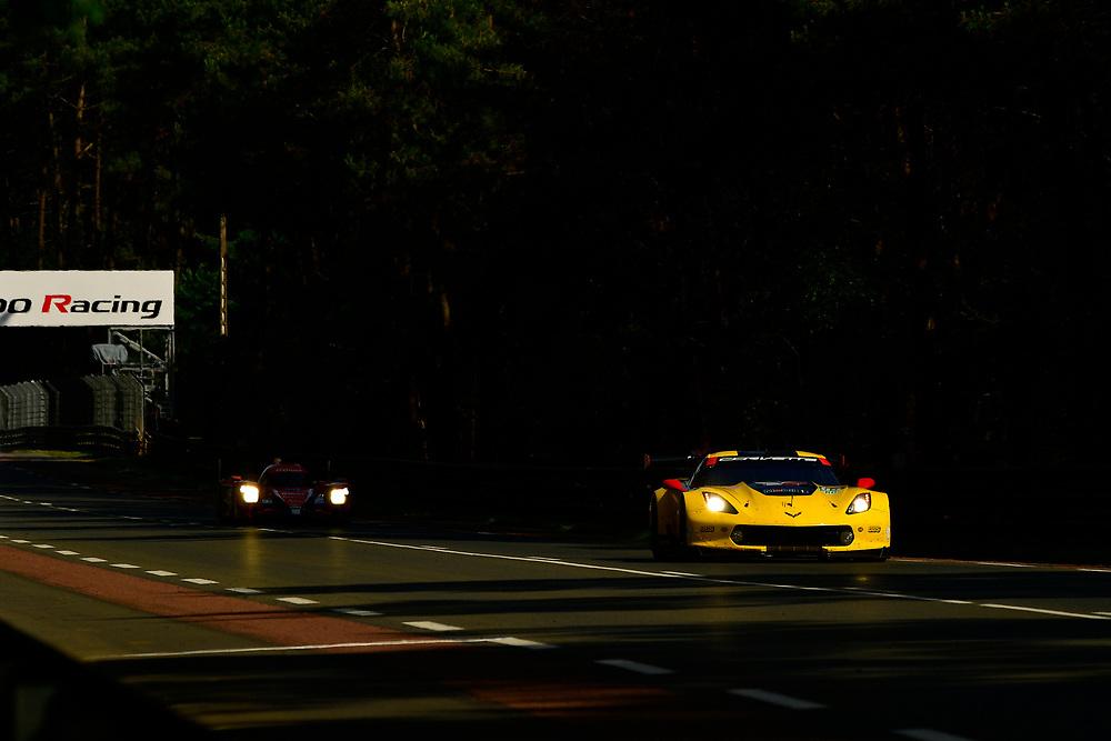 #64 Corvette Racing Chevrolet Corvette C7.R: Oliver Gavin, Tommy Milner, Marcel Fassler<br /> Wednesday 13 June 2018<br /> 24 Hours of Le Mans<br /> 2018 24 Hours of Le Mans<br /> Circuit de la Sarthe  FR<br /> World Copyright: Scott R LePage