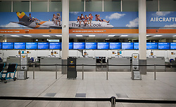 © Licensed to London News Pictures. 23/09/2019. Gatwick, UK. All Thomas Cook check-in desks at Gatwick Airport are closed after the travel firm collapsed. The 178 year old travel operator has gone in to liquidation after rescue talks failed overnight. This will trigger the largest peacetime repatriation as more than 150,000 British holidaymakers will need to be brought home. Photo credit: Peter Macdiarmid/LNP