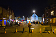 Cheriton High Street closed off with cones for Cheriton Light Festival 2018 in Folkestone, Kent, United Kingdom. The festival is deemed the most spectacular free winter event in Kent, and attracts thousands of visitors every year. (photo by Andrew Aitchison / In pictures via Getty Images)