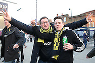 two  Borussia Dortmund chanting outside White Hart Lane Stadium before k/o. UEFA Europa League round of 16, 2nd leg match, Tottenham Hotspur v Borussia Dortmund at White Hart Lane in London on Thursday 17th March 2016<br /> pic by John Patrick Fletcher, Andrew Orchard sports photography.