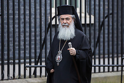London, UK. 29 January, 2020. Greek Orthodox leader Theophilos III, head bishop in the Greek Orthodox Church in Jerusalem, arrives at 10 Downing Street for a meeting.