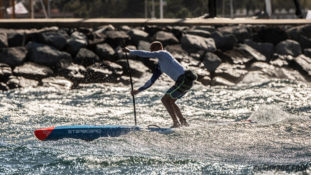 Saint Tropez October 1st 2018, Windy day in Saint Tropez, all the races of the Voile de Saint Tropez 2018 where posponed to the next day. On guy decided to go out anyway and leave the harbor on a SUP in over 30 knots of wind.