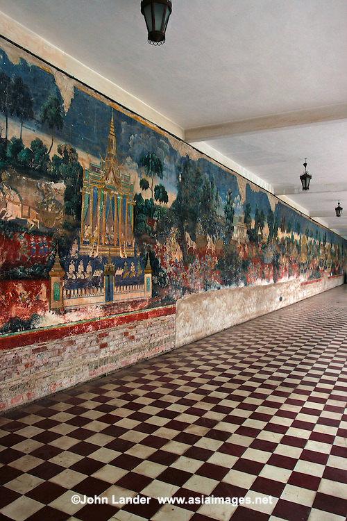 Murals at the Royal Palace of Phnom Penh, Cambodia - a complex of buildings which are the royal abode of the Kingdom of Cambodia.  The Kings of Cambodia have occupied it since it was built in 1866, with a period of absence when the country came into turmoil during and after the reign of the Khmer Rouge.
