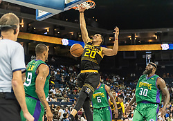 July 6, 2018 - Oakland, CA, U.S. - OAKLAND, CA - JULY 06: Ryan Hollins (20) of the Killer 3s slams in a basket during game 4 in week three of the BIG3 3-on-3 basketball league on Friday, July 6, 2018 at the Oracle Arena in Oakland, CA (Photo by Douglas Stringer/Icon Sportswire) (Credit Image: © Douglas Stringer/Icon SMI via ZUMA Press)